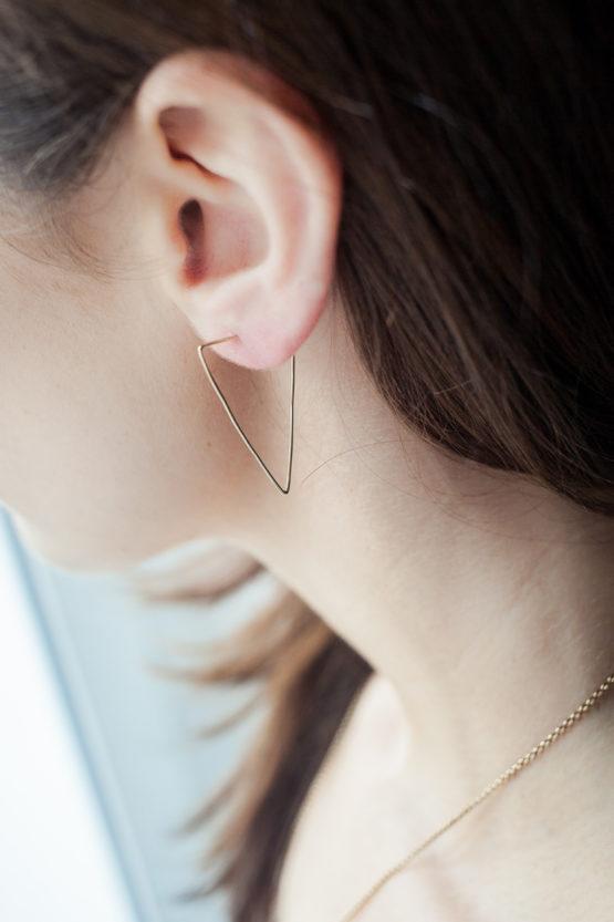 boucles d'oreilles fil doré unfold