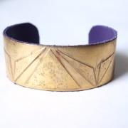 bracelet manchette geometrique femme doré cuir