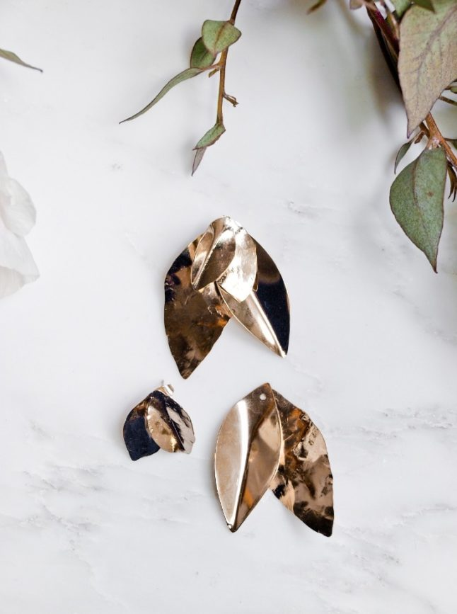 Boucles d'oreilles grandes feuilles ear jacket