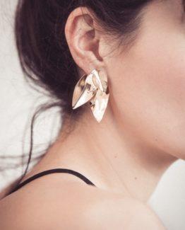 Boucles d'oreilles grandes feuilles ear jacket unfold bijoux delicats minimalistes bijoux uniques
