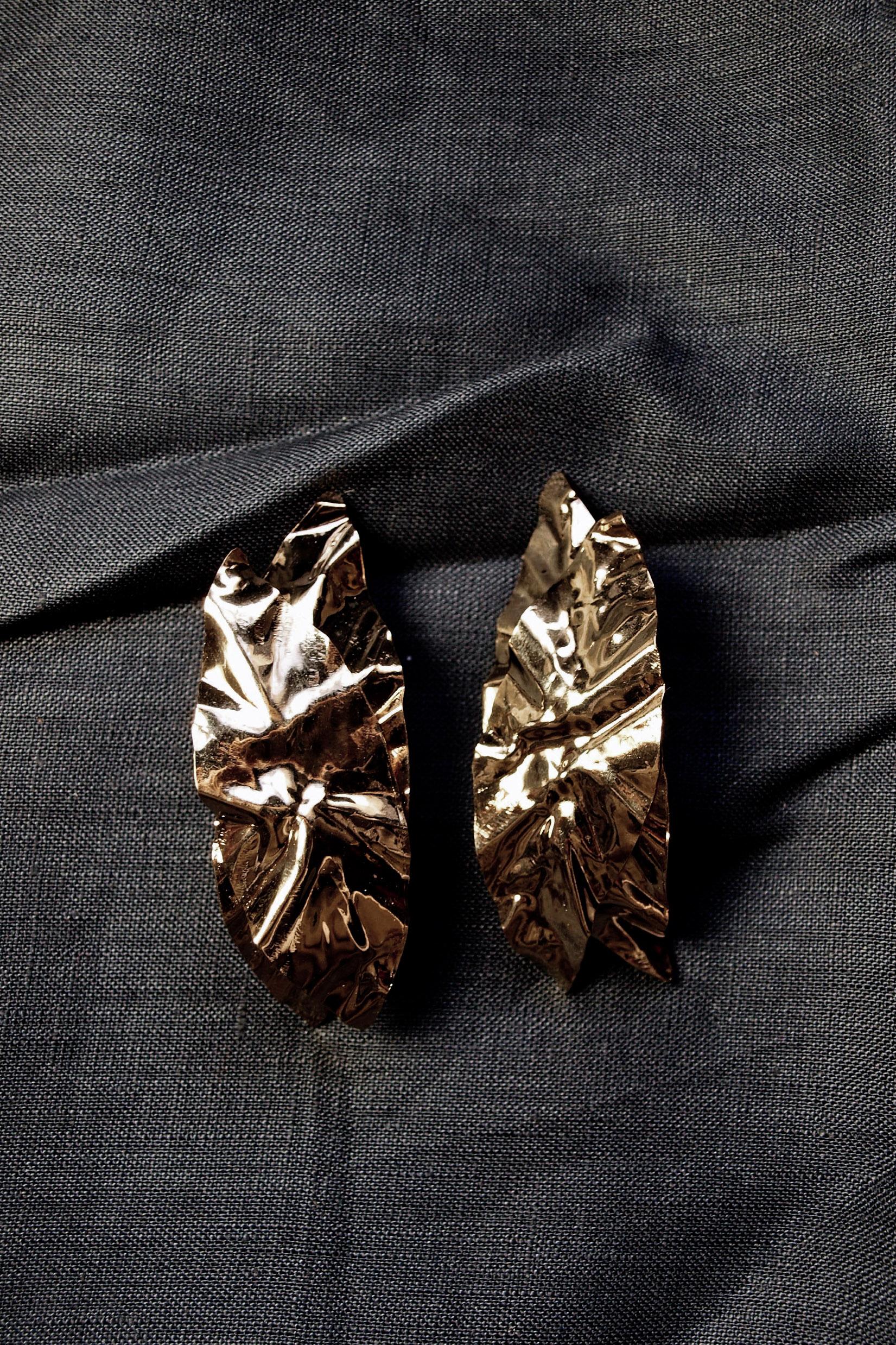 Maxi boucles d'oreilles froissées métal froissé Crush